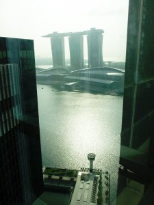 The view of Marina Bay Sands from the Microsoft office on level 21 Singapore